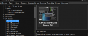 GameMakerStudio_StartupScreen_tutorials_tab_screenshot